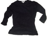 Women's Black 3/4 Sleeve V-Neck Shirt