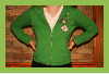 Women's Green Flower Applique Hoodie