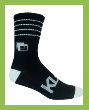 3/4 Crew Black and White Bamboo Athletic Sock